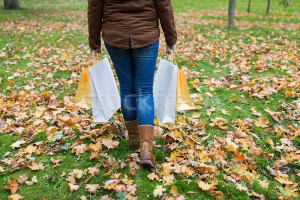 woman with shopping bags walking along autumn park Stock photo © dolgachov