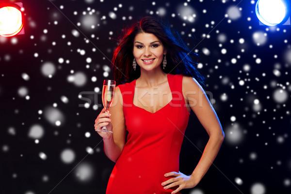 красивая женщина шампанского стекла ночном клубе люди зима Сток-фото © dolgachov