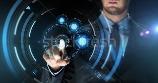 ビジネスマン 触れる バーチャル 画面 投影 ビジネスの方々 ストックフォト © dolgachov