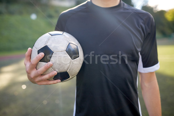 Közelkép labdarúgó futballpálya sport futball képzés Stock fotó © dolgachov