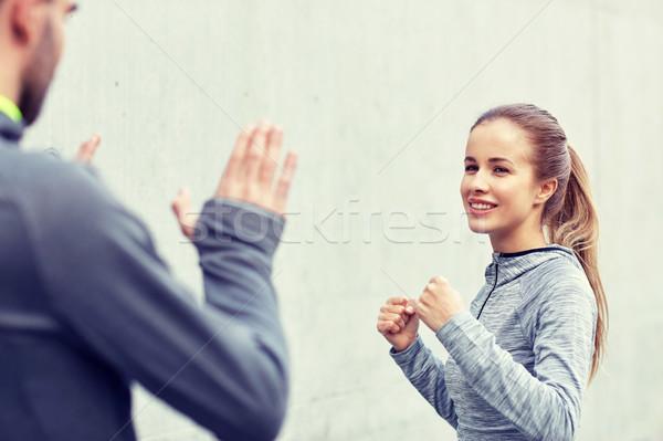 Mutlu kadın koç grev açık havada Stok fotoğraf © dolgachov