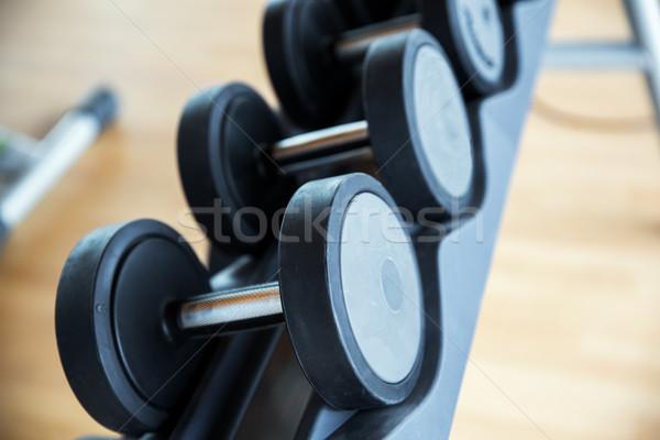 Dambıl spor malzemeleri spor salonu uygunluk spor Stok fotoğraf © dolgachov