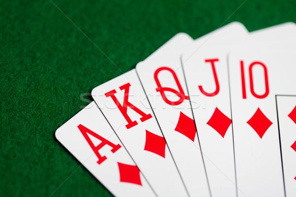 poker hand of playing cards on green casino cloth Stock photo © dolgachov