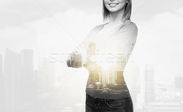 smiling woman in casual clothes Stock photo © dolgachov
