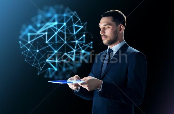 üzletember táblagép hálózat vetítés üzletemberek modern Stock fotó © dolgachov