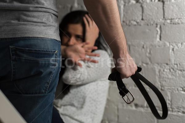 Boldogtalan nő szenvedés családon belüli erőszak erőszak emberek Stock fotó © dolgachov