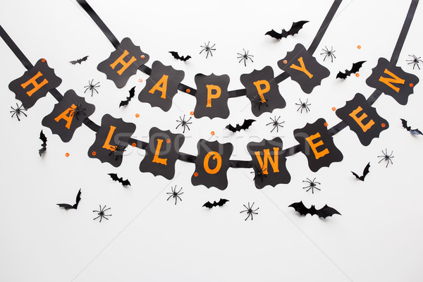 Stock photo: happy halloween party black garland and decoration