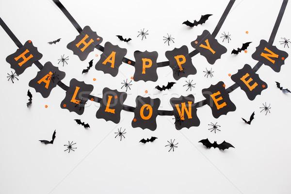 счастливым Хэллоуин вечеринка черный гирлянда украшение Сток-фото © dolgachov