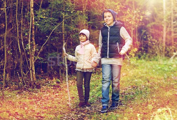 two happy kids walking along forest path Stock photo © dolgachov