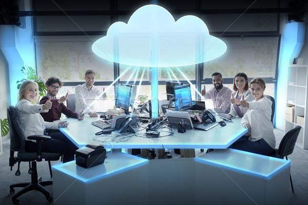 Boldog üzleti csapat felhő alapú technológia hologram jövő technológia Stock fotó © dolgachov