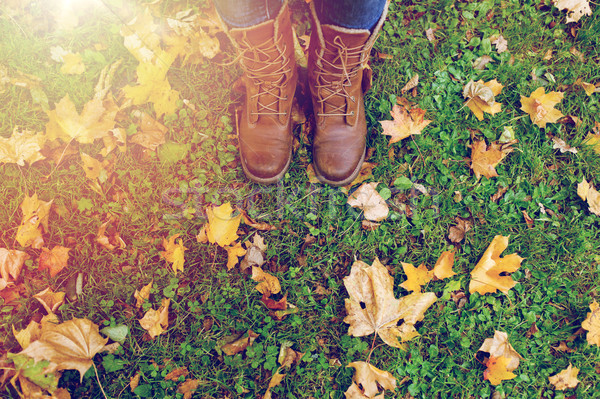 female feet in boots and autumn leaves on grass Stock photo © dolgachov