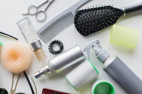 hair brush, styling sprays, curlers and pins Stock photo © dolgachov