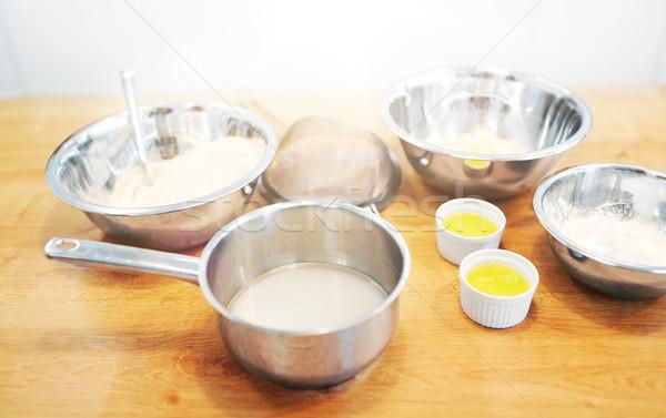 Kommen meel ei bakkerij keuken koken Stockfoto © dolgachov