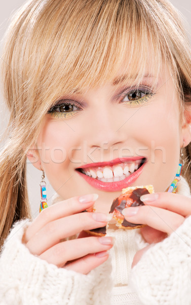 Cookie Foto feliz mujer alimentos Foto stock © dolgachov