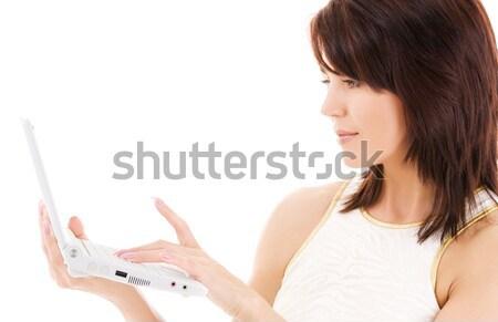 Kadın dizüstü bilgisayar resim Internet teknoloji ağ Stok fotoğraf © dolgachov