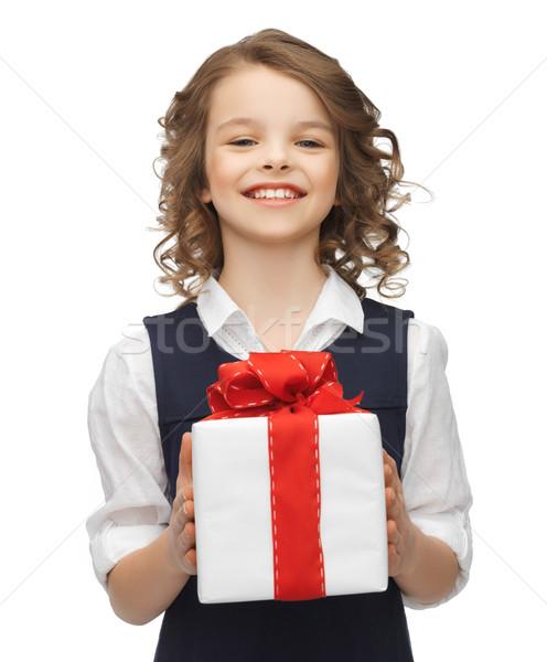 girl with gift box Stock photo © dolgachov