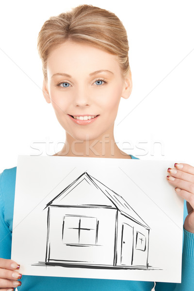 woman holding picture with house Stock photo © dolgachov
