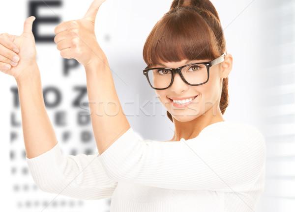 Сток-фото: женщину · очки · глаза · диаграммы · медицина · видение
