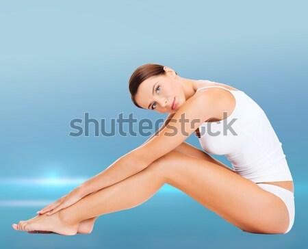 Bela mulher branco algodão roupa interior saúde beleza Foto stock © dolgachov
