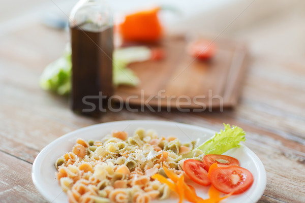 close up of pasta meal on plate Stock photo © dolgachov