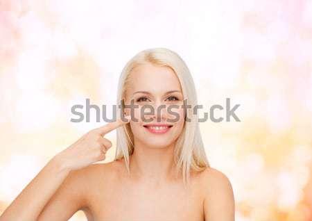 Sorridere punta guancia salute bellezza Foto d'archivio © dolgachov