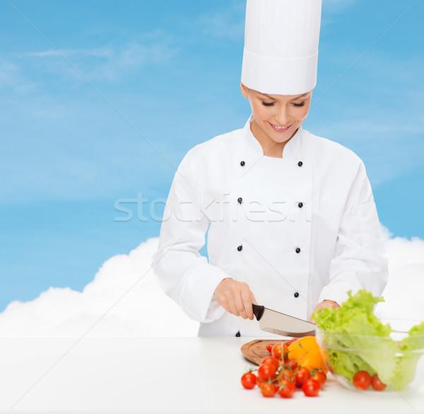 Mosolyog női szakács tapsolás zöldségek főzés Stock fotó © dolgachov