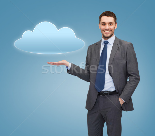 Glimlachend zakenman cloud icoon business kantoor Stockfoto © dolgachov