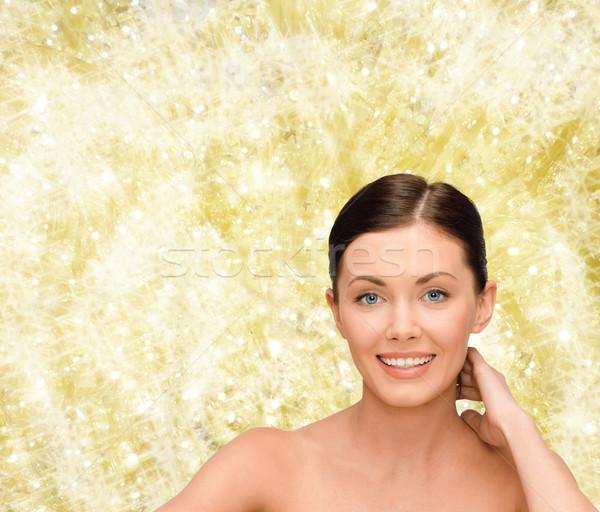 Mosolyog fiatal nő meztelen vállak szépség emberek Stock fotó © dolgachov