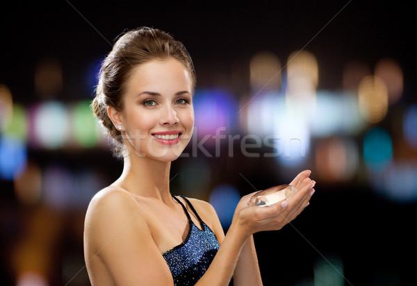 Mosolygó nő estélyi ruha gyémánt emberek ünnepek karácsony Stock fotó © dolgachov