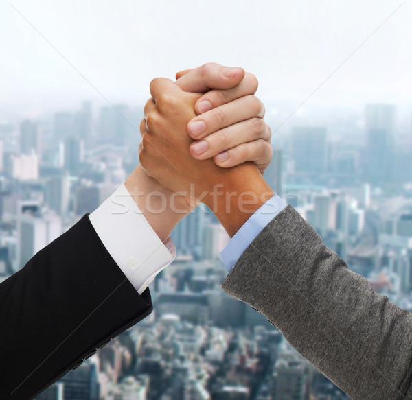 Eller iki kişi iş adamları rekabet iş adam Stok fotoğraf © dolgachov