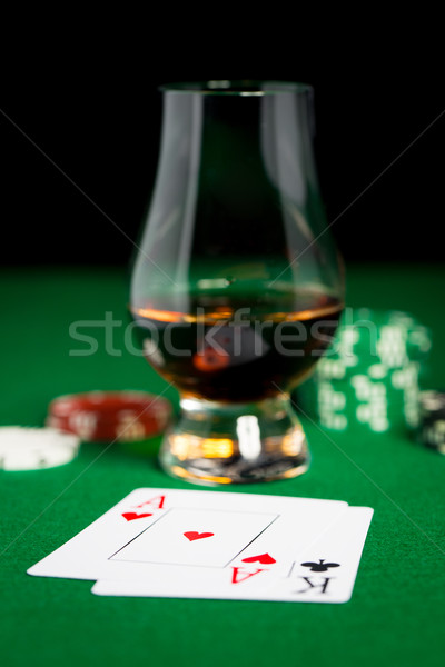 close up of chips, cards and whisky glass on table Stock photo © dolgachov