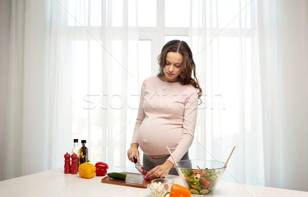 Mujer embarazada casa embarazo cocina alimentos Foto stock © dolgachov