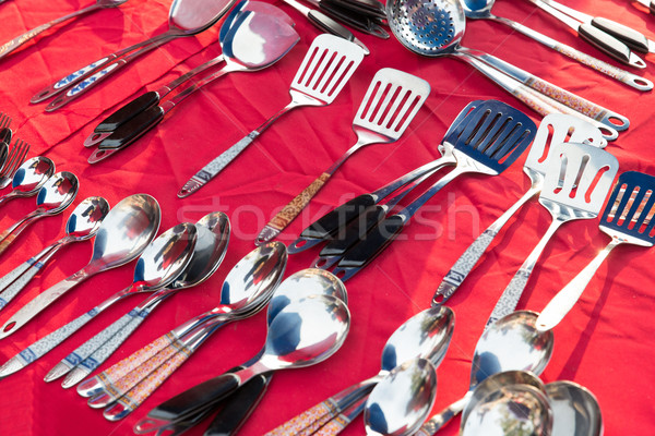 tableware and kitchenware sale at street market Stock photo © dolgachov