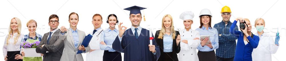 Glücklich Bachelor Diplom Menschen Beruf Stock foto © dolgachov