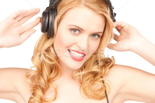 Stock foto: Glücklich · Frau · Kopfhörer · Bild · weiß · Musik