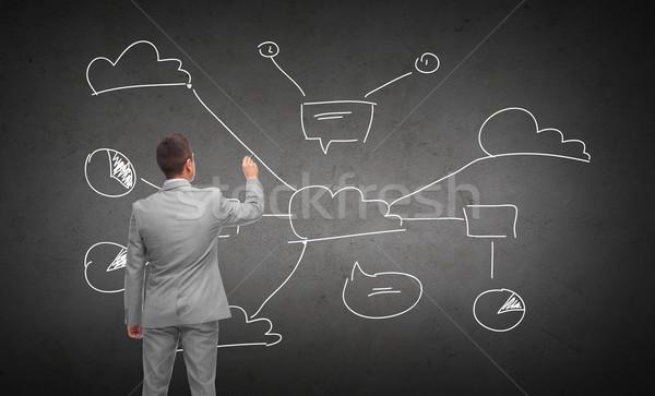 businessman drawing cloud computing scheme Stock photo © dolgachov