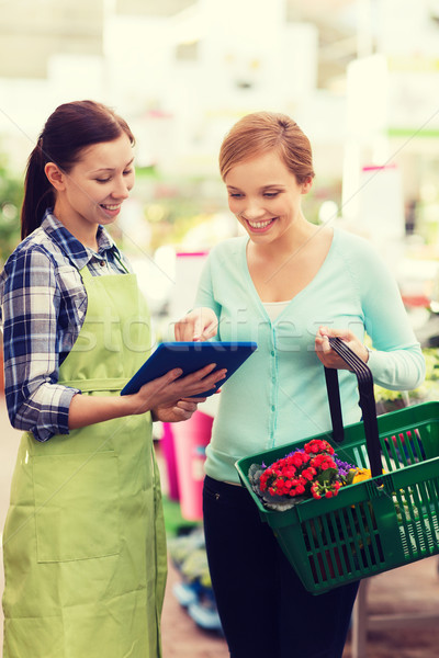 happy women with tablet pc in greenhouse Stock photo © dolgachov