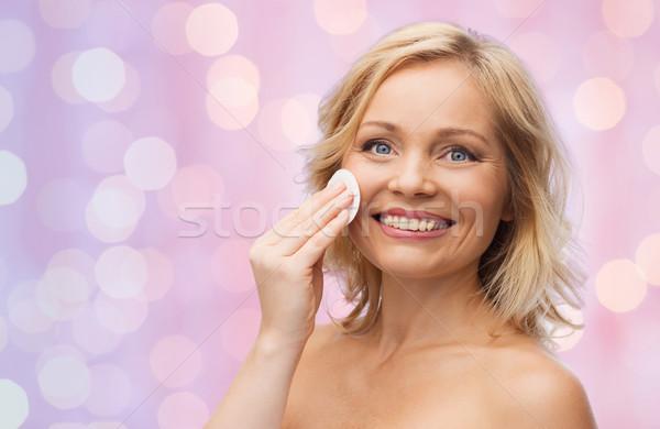 Stok fotoğraf: Mutlu · kadın · temizlik · yüz · pamuk · güzellik