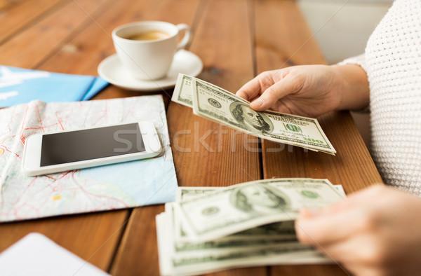 Stockfoto: Reiziger · handen · dollar · geld · vakantie