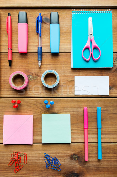 close up of stationery or school supplies on table Stock photo © dolgachov