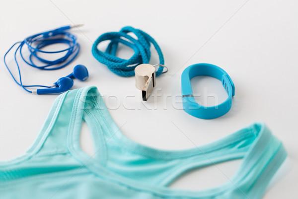 Sportok felső fitnessz fülhallgató síp sport Stock fotó © dolgachov