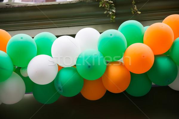 Közelkép léggömbök girland dekoráció ünnepek születésnap Stock fotó © dolgachov