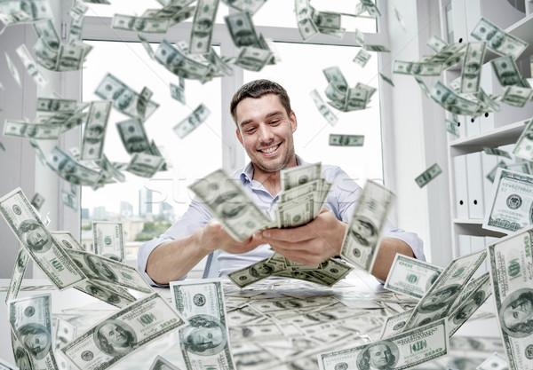 счастливым бизнесмен куча деньги деловые люди успех Сток-фото © dolgachov