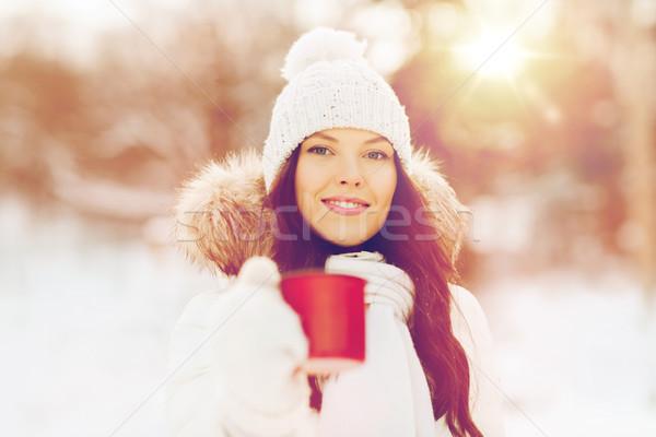 幸せ 若い女性 茶碗 屋外 冬 人 ストックフォト © dolgachov