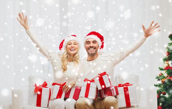 Gelukkig paar home christmas vakantie Stockfoto © dolgachov