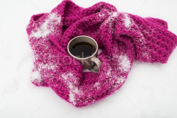 Chá caneca de café inverno cachecol neve temporada Foto stock © dolgachov