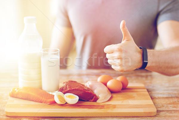 男 食品 豊富な タンパク質 ストックフォト © dolgachov