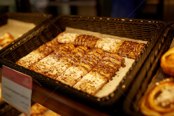 close up of buns at bakery Stock photo © dolgachov