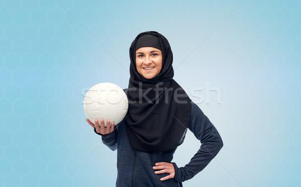 Mutlu Müslüman kadın başörtüsü voleybol spor Stok fotoğraf © dolgachov