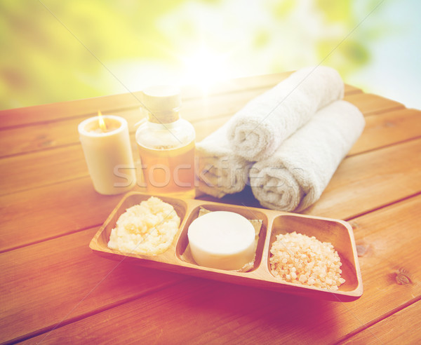 close up of soap, himalayan salt and scrub in bowl Stock photo © dolgachov